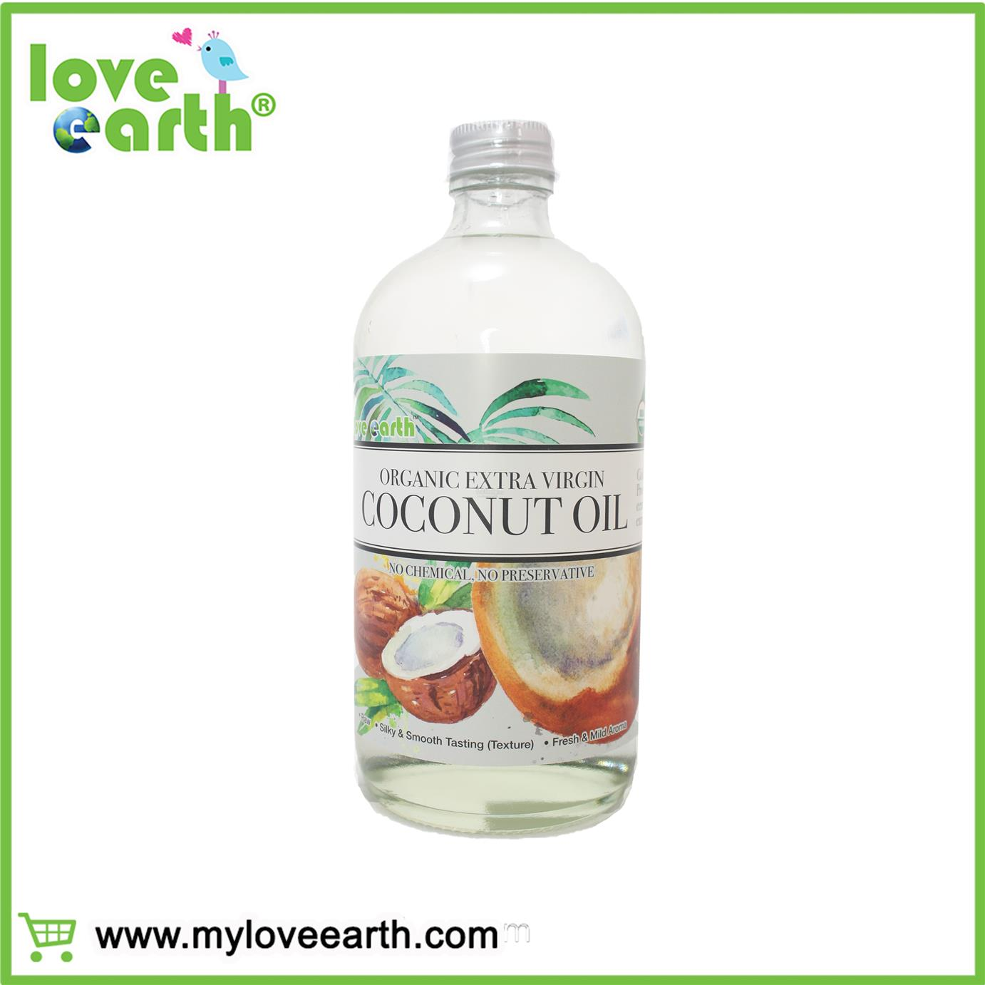 LOVE EARTH ORGANIC EXTRA VIRGIN COCONUT OIL 480ML