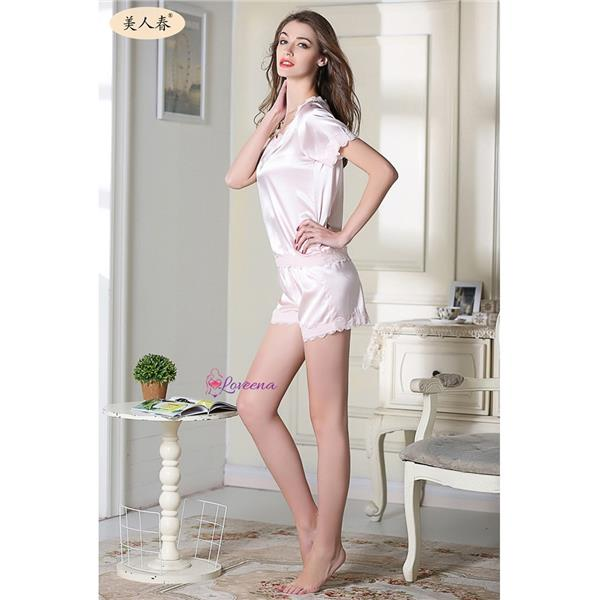 Loveena Ice Silk Short Sleeve & Pants Pyjamas Sleepwear L8002