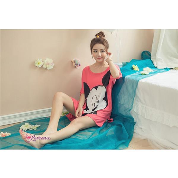 Loveena Mickey Pyjamas Top With Short Pants P0612 (2 Colours)
