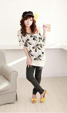 Lovely Bow Print Long T-shirt 12327