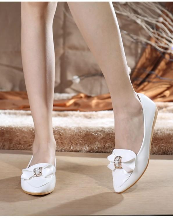 Lovely Diamond Ribbon Pump Shoes (White)