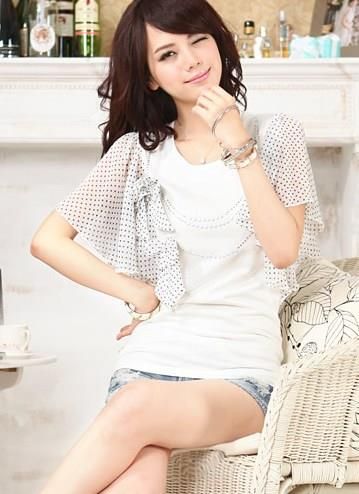 Lovely Dot-Dot Sleeve Ribbon Blouse (White)