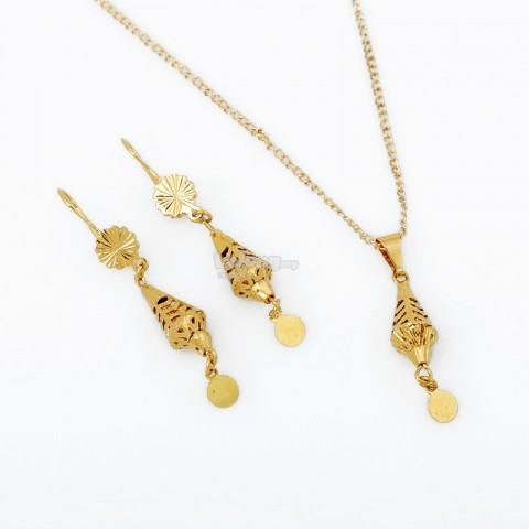 Lovely Gold Pendant Necklace Earrings Chain Fashion Jewelry Set