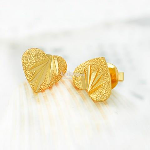 Lovely Heart Gold Plated Stud Earrings