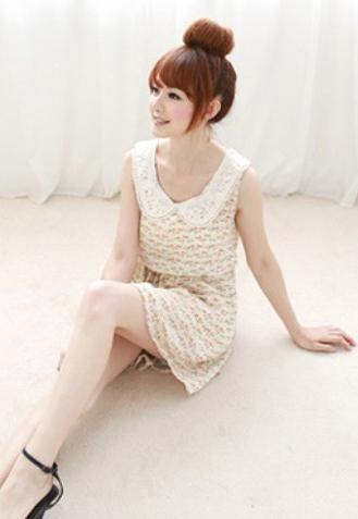 Lovely Mini-Cat Dress (Light Yellow) 12396