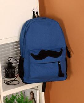 Lovely Moustache Backpack (Blue)