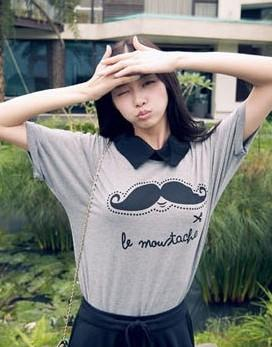Lovely Mustache Blouse (Grey)
