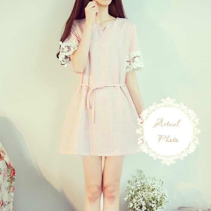 Lovely Plaid Short Sleeve Dress (Pink)