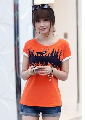 Lovely Snowflake Printing Blouse (Orange)