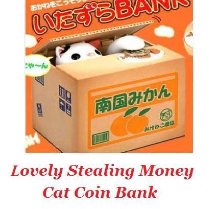 Lovely Stealing Money Cat Coin Bank with Meow Effects White Cat