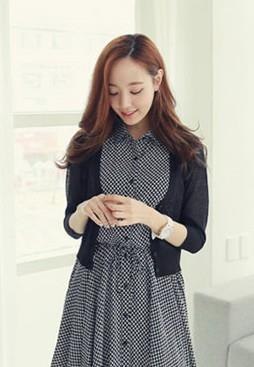 Lovely V Long-sleeve Thin Knit Jacket (Black)