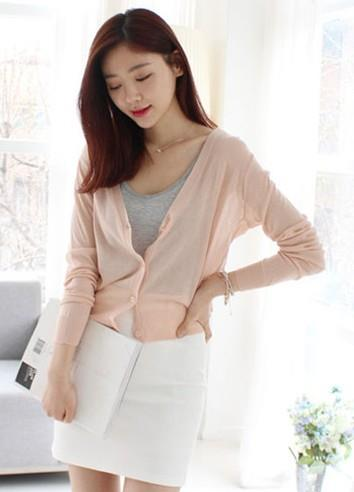Lovely V Long-sleeve Thin Knit Jacket (Light Orange)