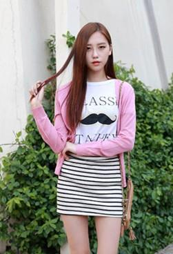 Lovely V Long-sleeve Thin Knit Jacket (Pink)