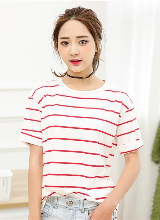 Lovely Wide Stripe Loose Blouse (White Red)