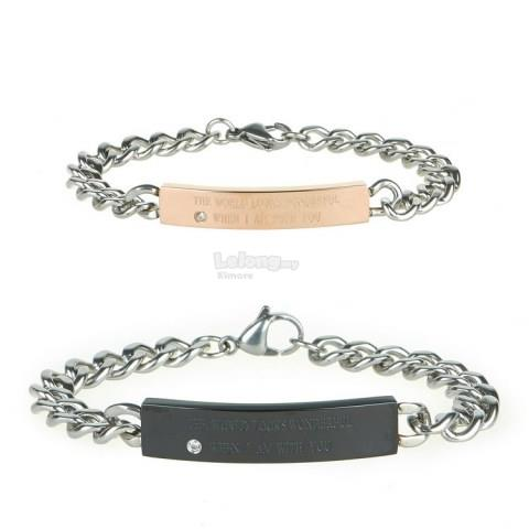 Lovers Titanium ID Bracelet With Curb Link