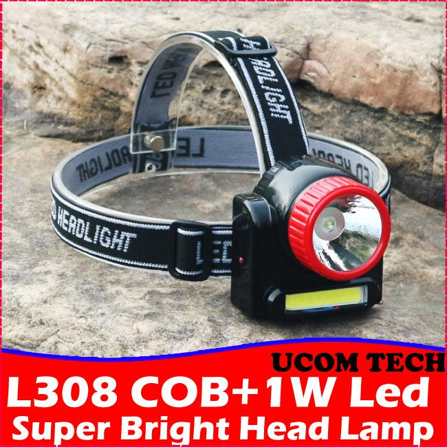 LP308 COB + 1W Led Head Lamp Rechargeable Head Torchlight Torch Light