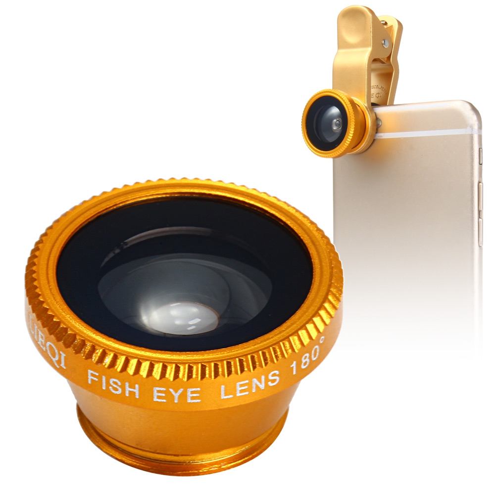 LQ - 180 UNIVERSAL 180 DEGREE CLIP-ON PHOTO FISHEYE LENS (GOLDEN)