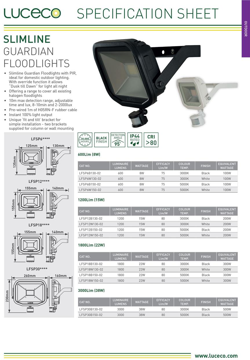 LUCECO 8W/600 LUMENS / 3000K WHITE LED FLOOD LIGHT (LFSP6B130/02)