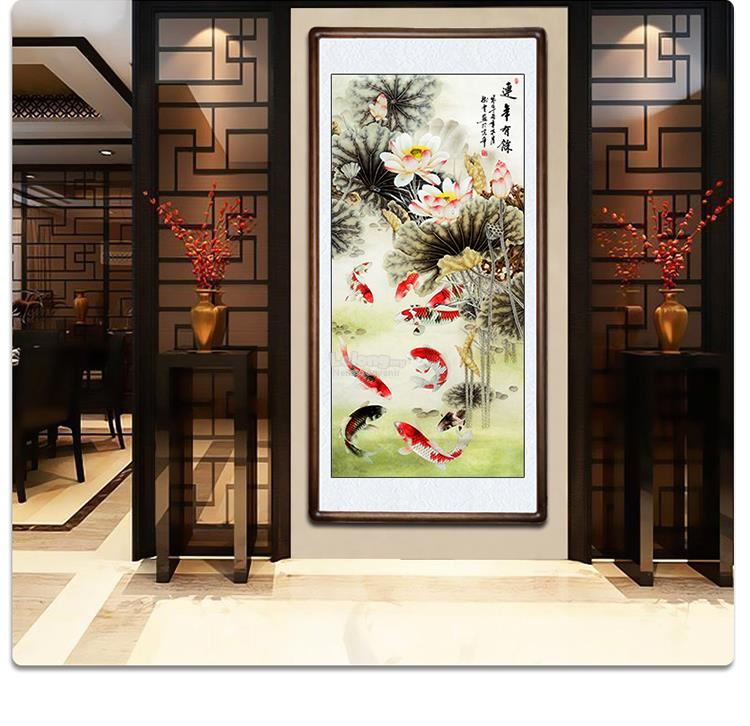 Lucky Feng Shui Paintings 9 Fish Lotus Office Home Decorative Painting