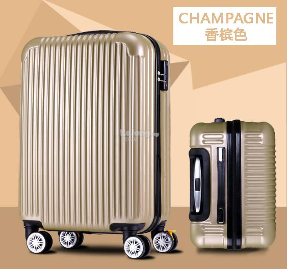 Luggage 20 inch ABS+PVC 4 Wheel Rotation(Champagne Gold/ Black)