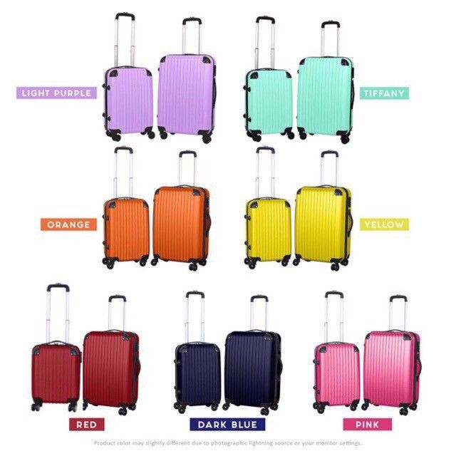 Luggage Abs Suitcase 24 Inch Plain - Pc - [P-BLACK ,12 INCH + 24 INCH]