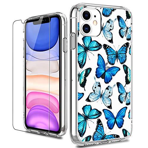 US. LUHOURI iPhone 11 Case with Screen Protector,Clear with Floral Flower Desi
