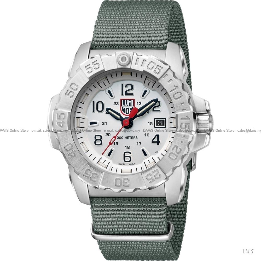 LUMINOX 3257 Navy Seal Steel 24-hr Date webbing strap white grey
