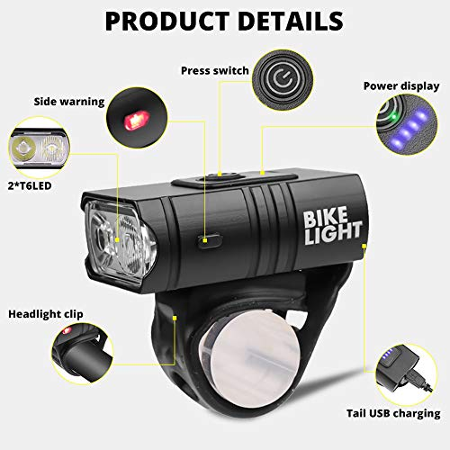 LUXNOVAQ Bicycle Lights Front and Rear Rechargeable USB Mini Bike Light, 1000