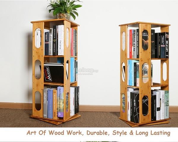 Luxury Wooden 360 Rotation Bookshelf, DIY Wood Shelve, Portable Rack