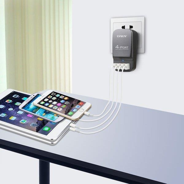 LVSUN Professional LS-4U Smart 4 Ports 5V 34W USB Fast Charging Travel