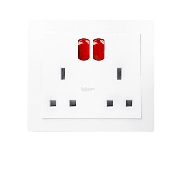 LWD 2 Gang Switched Socket Outlet With Neon x 3 PCS SIRIM Approved