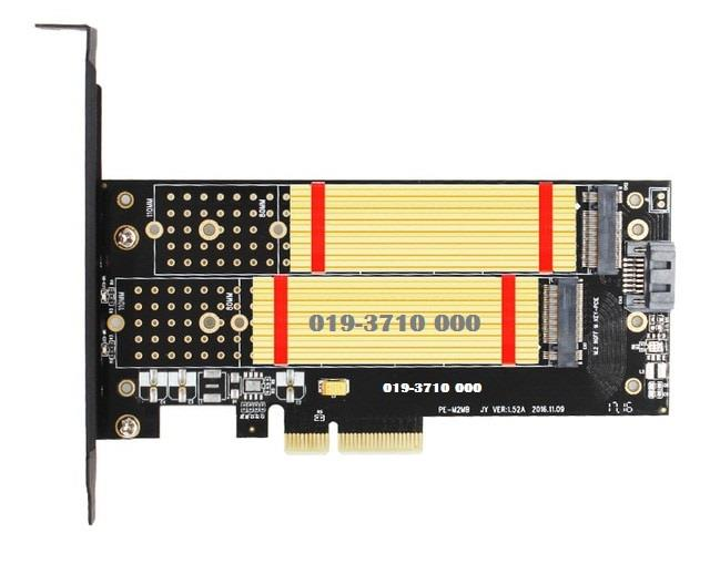 M.2 NVMe SSD NGFF TO PCIE X4 adapter M Key B Key dual interface card