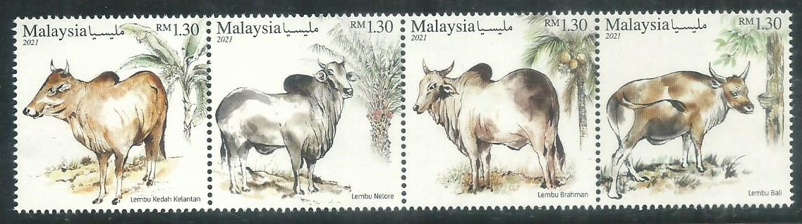 M-20210318 M'SIA 2021 CATTLE BREEDS IN MALAYSIA 4V MINT