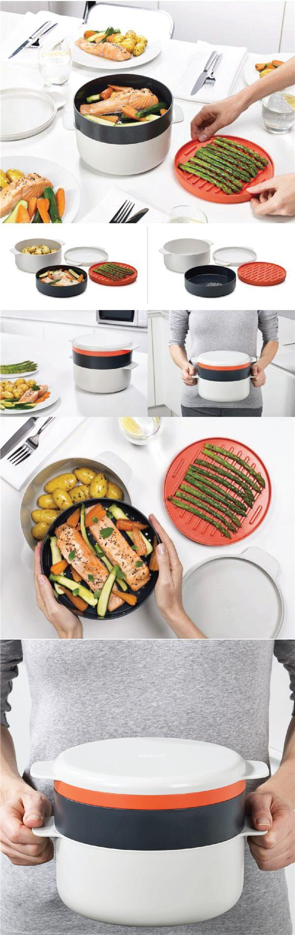 M Cuisine Microwave 4 Piece Stackable Cooking Set Pot Steamer Griddle