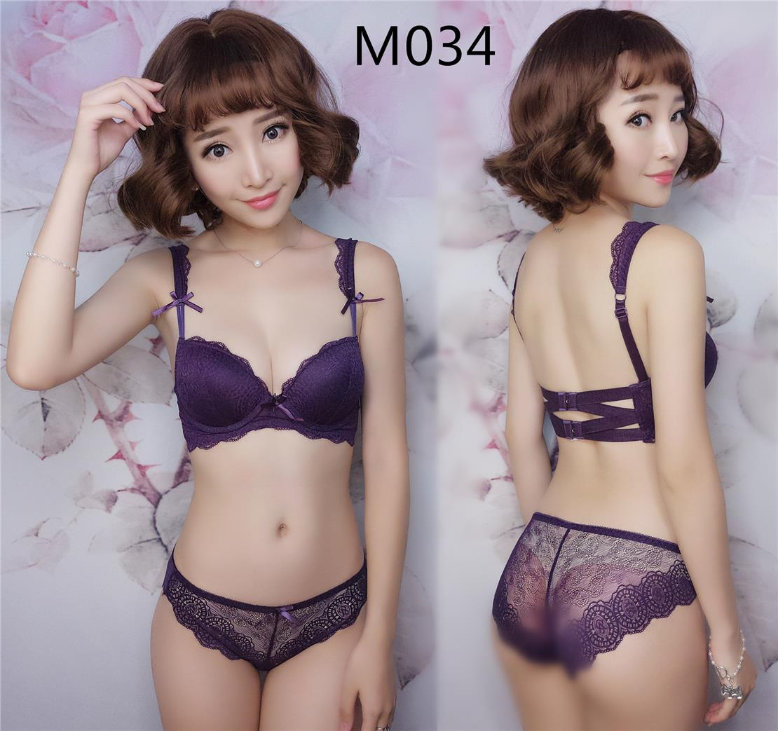 642b401aee M034 Purple Sexy Back Strap Push Up Bra Set with Lace Panties. ‹ ›
