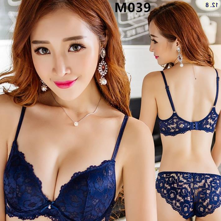 M039 Korean Style Blue Lace Sexy Push Up Bra Sets (2 Colour)