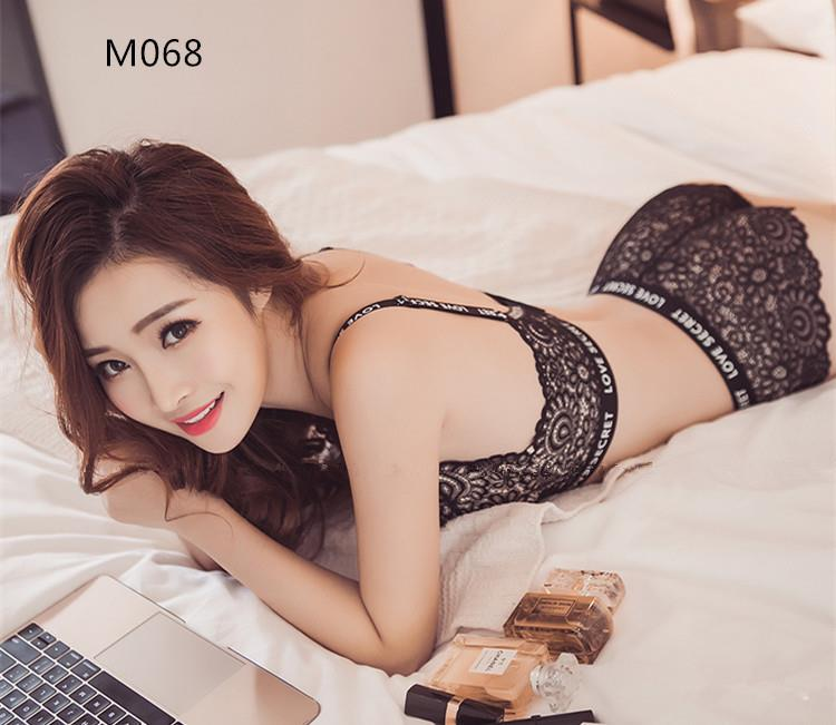 M068 Korean Style Lace Sexy Rimless Push Up Bra Sets (2 Colour)