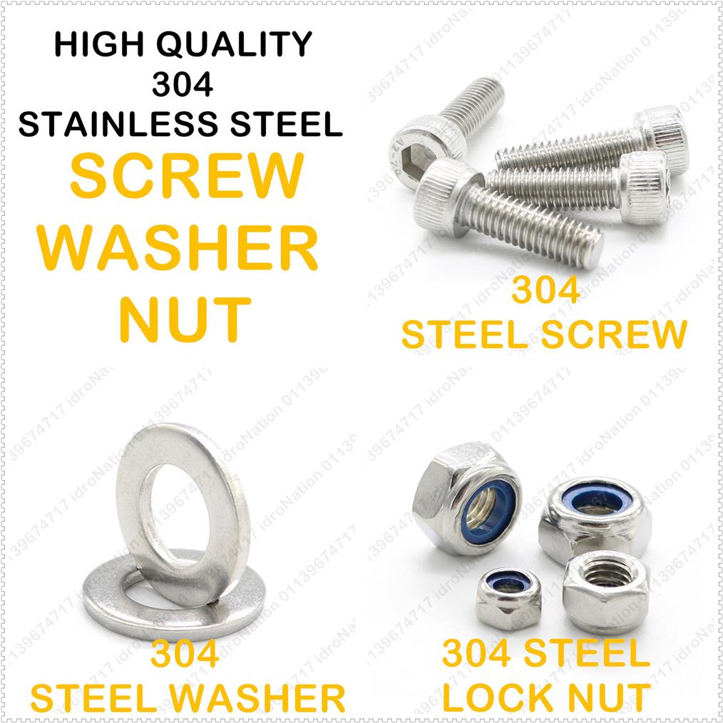 M2.5 M3 M4 M5 Nylon 304 Stainless Steel Self Lock Nuts Screws Washers