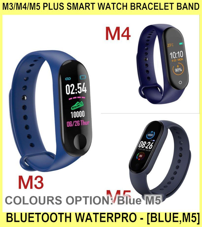 M3/m4/m5 Plus Smart Watch Bracelet Band BLUETOOTH Waterpro - [BLUE,M5]