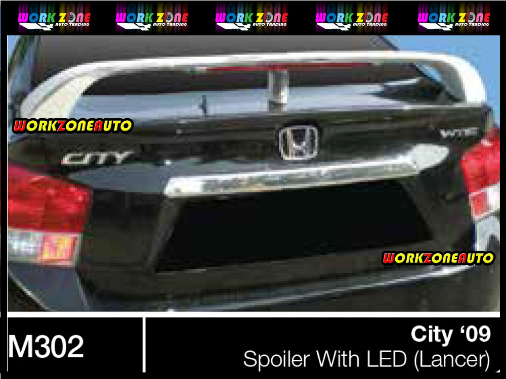 M302 Honda City 09 Fiber Spoiler With LED (Lancer)