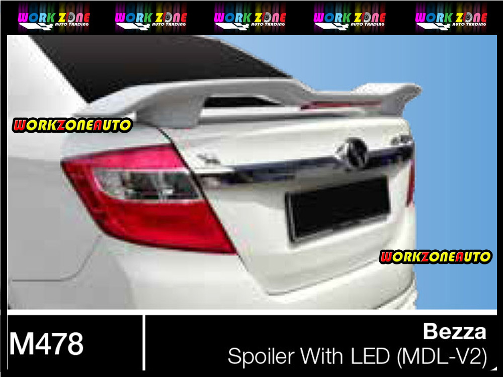 M478 Perodua Bezza Fiber Spoiler with Led (MDL V2)