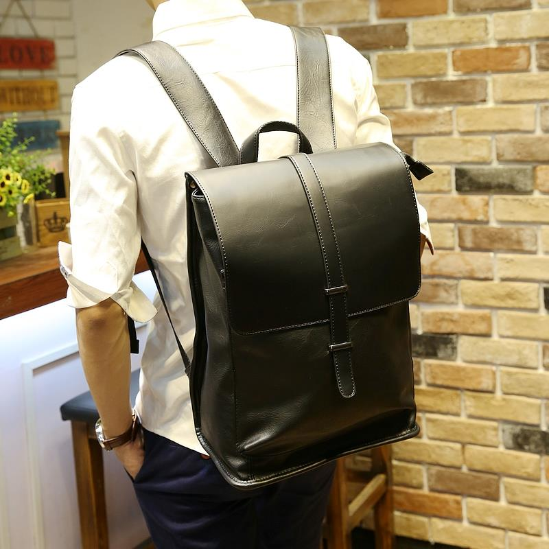 MABLE FASHION Korean Men PU Leather Business Backpack (P)