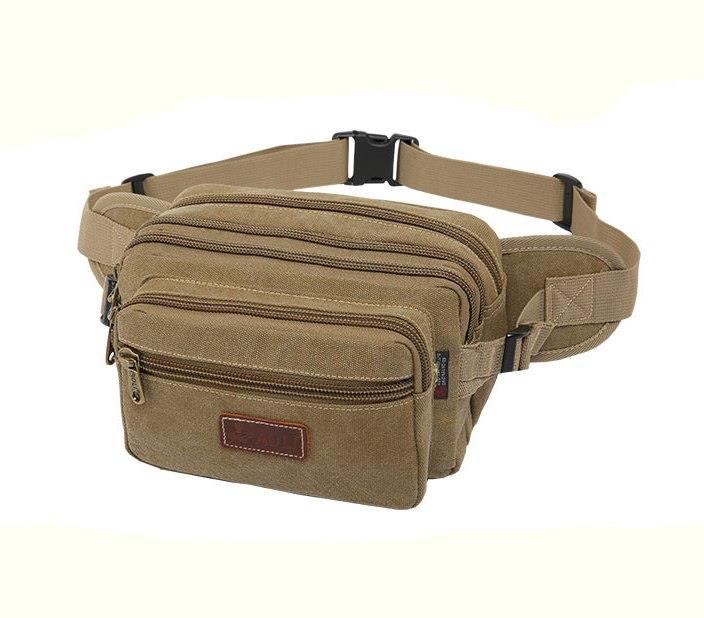 MABLE FASHION Men Multiunction Pockets Canvas Waist Chest Bag