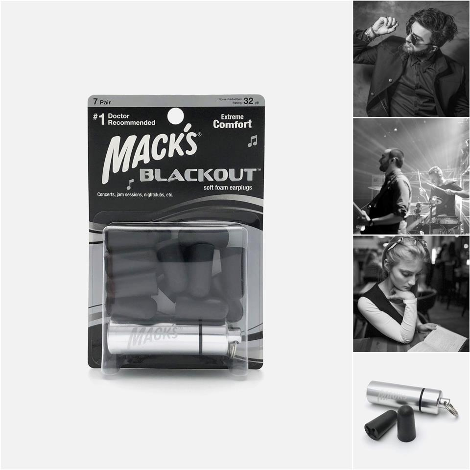 Mack's BLACKOUT Soft Foam Earplugs, 7 Pair - Noise Blocker Ear Plugs