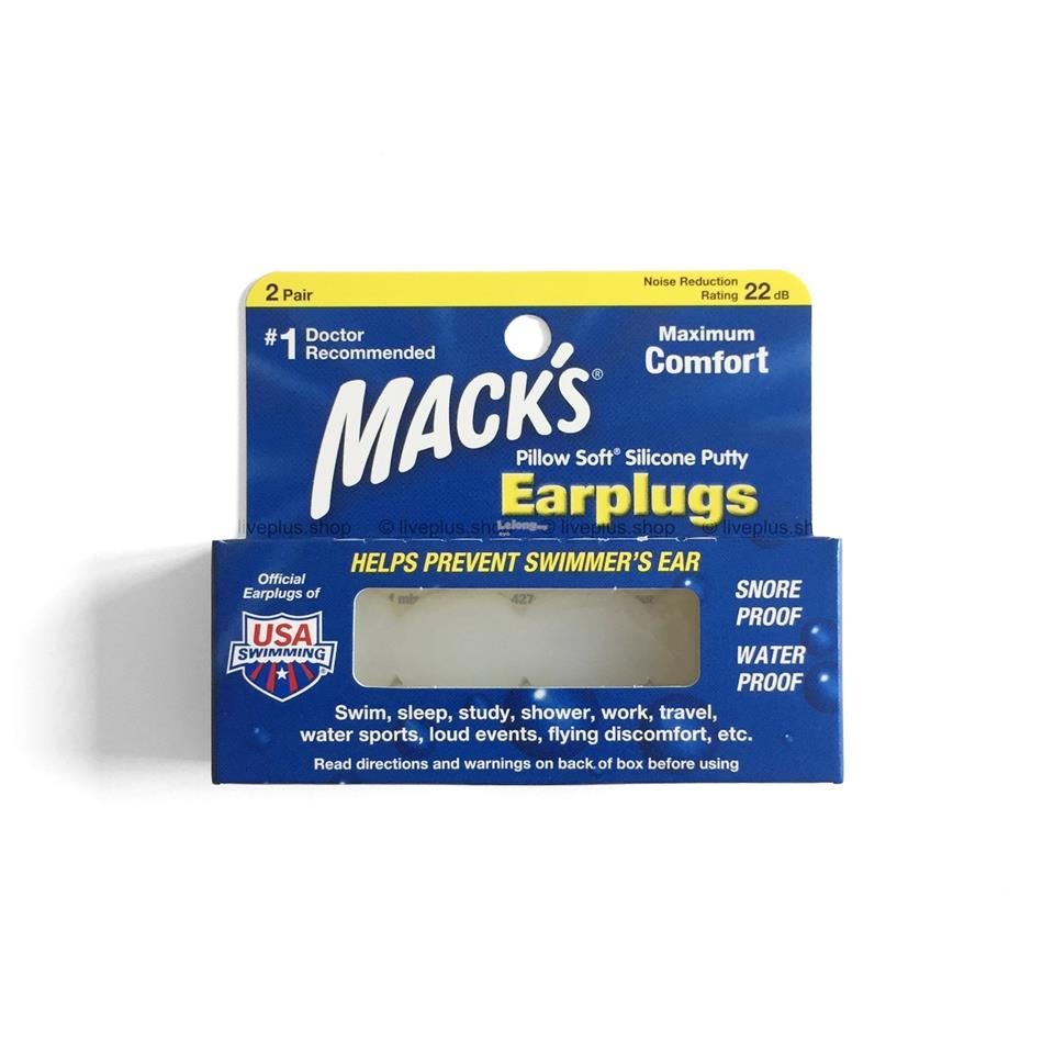 Mack's Pillow Soft Silicone Earplugs (Ear Plugs), 2 Pair, White