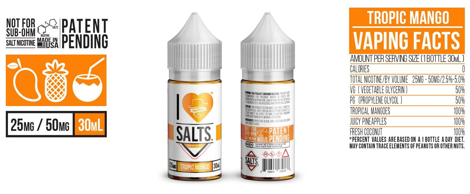 Mad Hatter Juice - I Love Salts - Tropical Mango - 30mL (e-liquid e-juice)  **O
