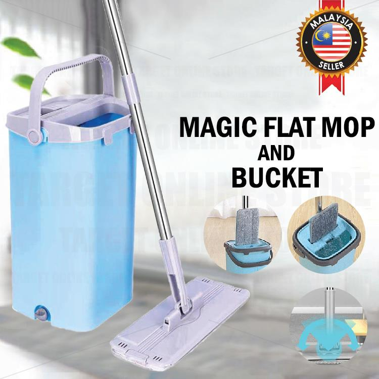 Magic Flat Mop Bucket 360° Rotating Microfiber Cloth Drying Cleaning