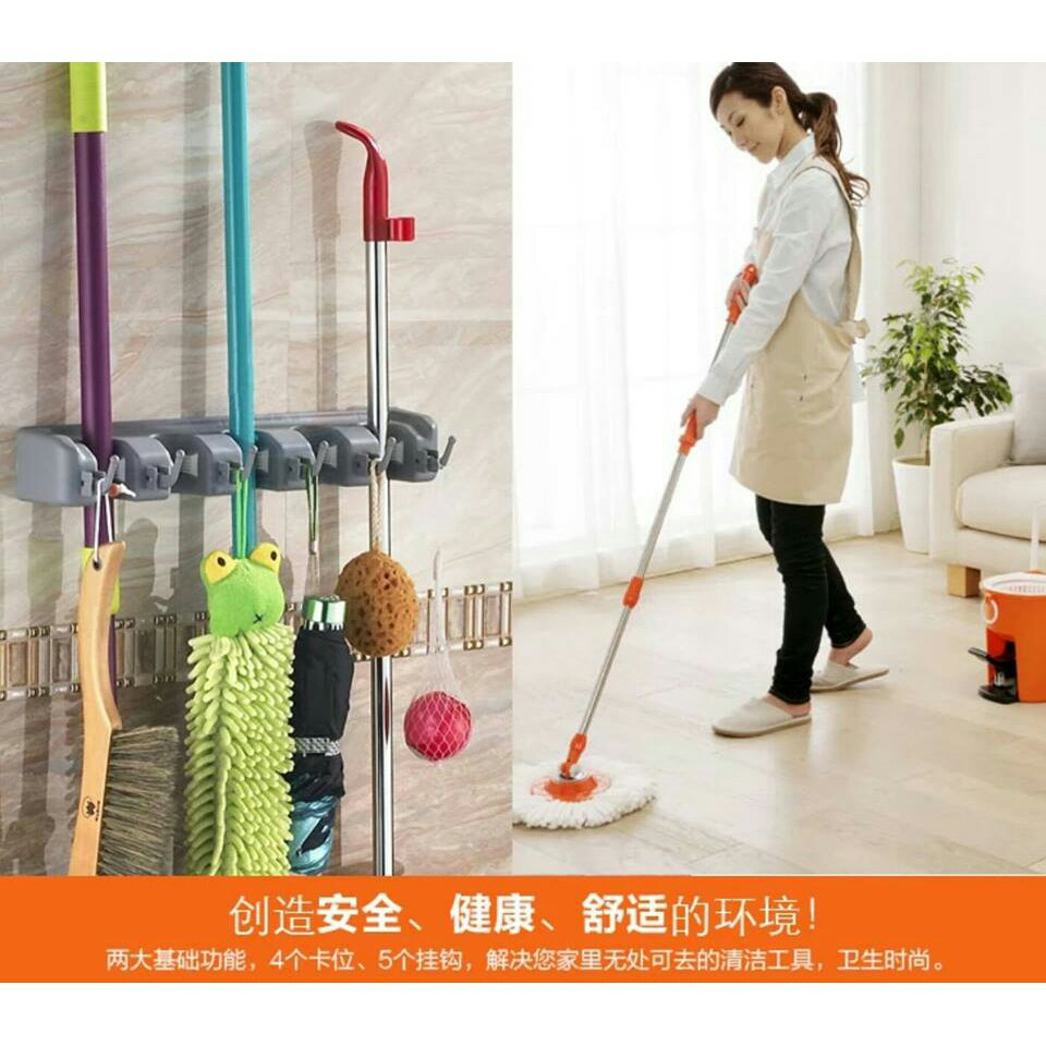 Magic Wall Mounted Mop U0026 Broom Holder (5 Hanger 6 Hooks)
