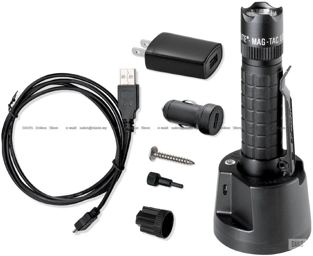 Maglite Mag-Tac LED Rechargeable Flashlight System - Crowned Bezel