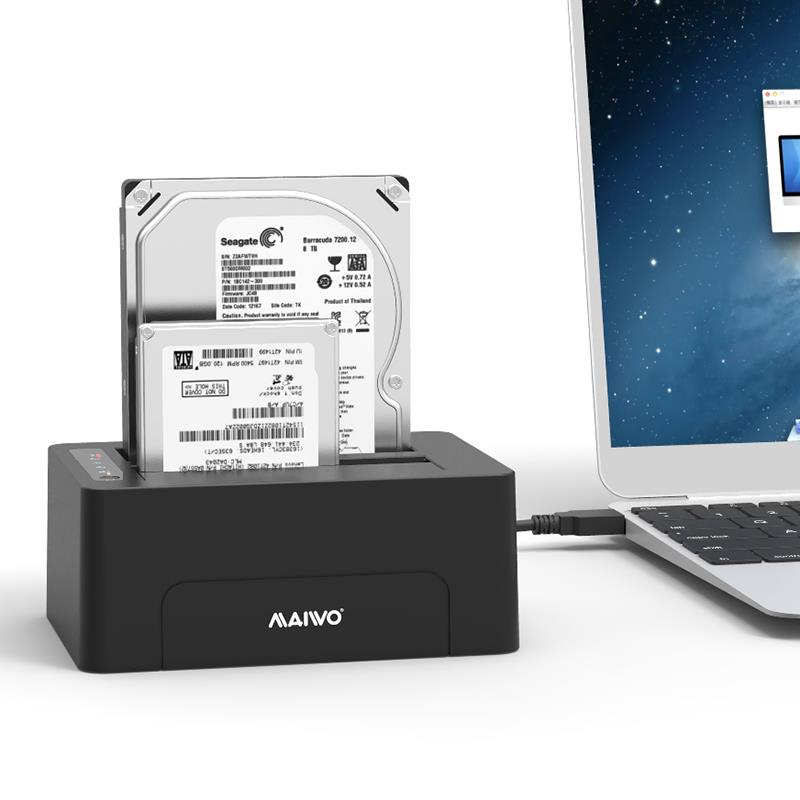 MAIWO 2-Bay 1: 1 Clone Hard Disk Docking Station (K3082)
